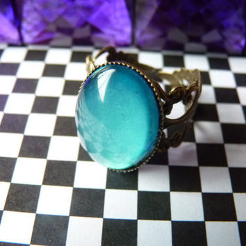 Metallic Turquoise Oval Gem Ring Kawaii Goth - Bronze Adjustable Filigree Band