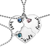 "Christmas Gifts 3 Pcs/set ""best friends forever"" Rhinestone Broken Heart Shape Bff Necklace Best friend Jewelry -Best Christmas Gift"