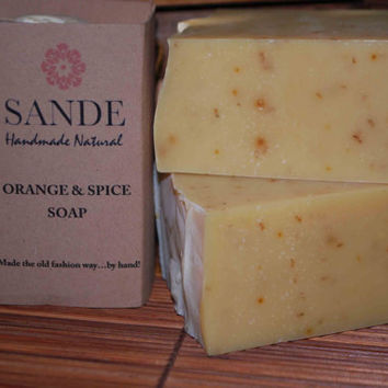 SALE - Orange Spice Soap w/Oatmeal, Orange Peel, Chamomile Flowers, Brazilian Clay - Natural Soap - Cold Process Soap - Spice Soap -SLS Free