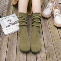 1 Pair Women Cotton Socks Fashion Casual Solid Color Cute Warm Autumn Winter Socks Japanese Style
