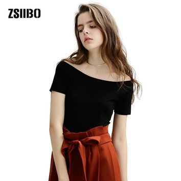 ZSIIBO 2017 Fashion Sexy Off Shoulder T-Shirt Summer Women Slim Strapless Tops Boat Neck Tops 5 Colors big sizes t-shirt KaTx41