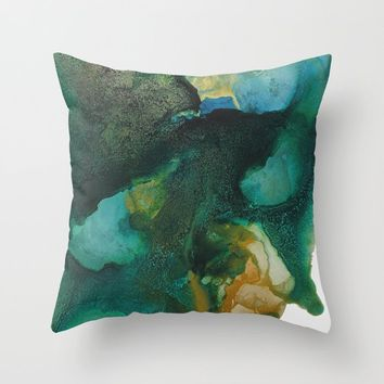 Green and Gold Throw Pillow by duckyb