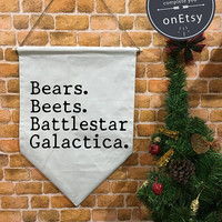 Beets Battlestar Galactica The Office TV SHOW banner flag and hanging device, wall banner flag, wall hanging decoration funny gifts