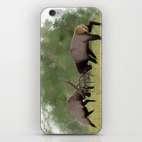Bull Elk Fighting  iPhone & iPod Skin by North Star Artwork