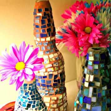 Etsy Mosaics Set of 3 Bud Vase Bottles - Bohemian, Incense Holder, Stained Glass, Broken China, Hippie, Handmade, Gift Set - Upcycled Art
