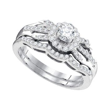 10kt White Gold Women's Round Diamond Halo Bridal Wedding Engagement Ring Band Set 1/2 Cttw - FREE Shipping (US/CAN)