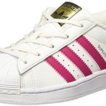 adidas Originals Superstar C White/Bold Pink Leather Junior Trainers