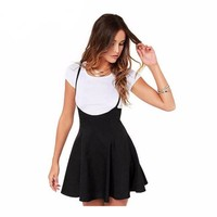 PLEATED SKATER SUSPENDER SKIRT