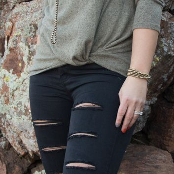 Olive 3/4 Sleeve Knot sweater