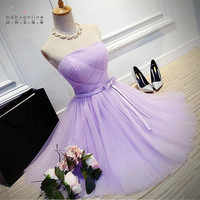 Cheap Price A Line Pleated Strapless Lavender Purple Short Bridesmaid Dresses with Sashes Elegant Girl's Dress For Wedding Party