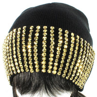 Crystal Rhinestone Black Gold Stretch Beanie Hat Cap