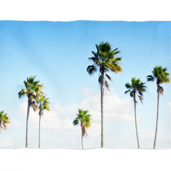 North Beach Palms - Fleece Blanket, Beach Style Palm Trees Accent Throw, Blue & Green Coastal Cottage Chic Coral Fleece in 30x40 50x60 60x80
