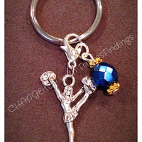 Cheerleading Keychain with a Bead Charm-  perfect as a gift, school, club, team, banquet, senior gift
