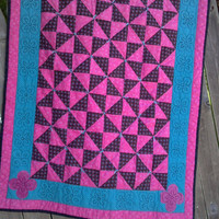 Black and Pink Baby Quilt, Crazy Baby Quilt, Funky Baby Quilt, FREE SHIPPING, Unique Quilt, Pinwheels, Applique, Quilted and Hand Tied