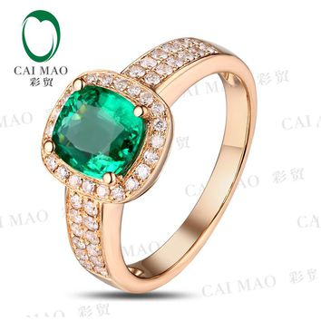Caimao Jewelry Classic 14k Yellow Gold 1.23ct Cushion Cut Emerald & 0.32ct Diamond Anniversary Ring
