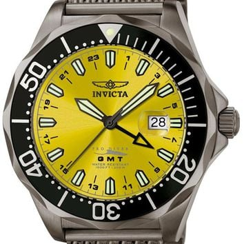 Invicta 6362 Men's Grand Pro Diver GMT Mesh Gun Metal Watch