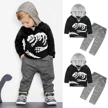 Baby clothes set Toddler Kids Baby Girls Boys Dinosaur Bones Clothes Long sleeve Set Hooded Tops+Pants Outfit drop ship ES