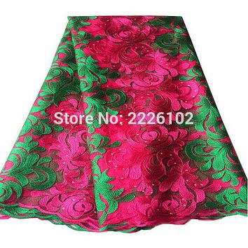 Latest high quality african tulle lace fabric pink green african lace fabric 2016 hand cut nigerian lace wedding fabric