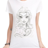 Disney Beauty And The Beast Belle Sketch Girls T-Shirt