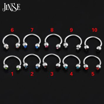JINSE 10PCS 1.2*8mm 3mm Stainless Steel C-Type Horseshoe Nose Ring Lip Nose Ring Eyebrow Septum Piercing Body Indian Jewelry