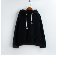 Womens Hooded Sweatshirt New Candy Color Black Long Sleeved Thick Casual All-match Solid Leisure Hoodie Loose Top