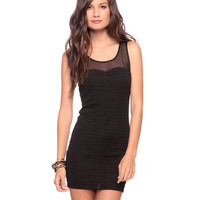 Mesh Yoke Bodycon Dress