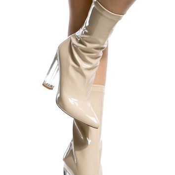 Nude Patent Leather Calf Length Translucent Heels @ Cicihot Heel Shoes online store sales:Stiletto Heel Shoes,High Heel Pumps,Womens High Heel Shoes,Prom Shoes,Summer Shoes,Spring Shoes,Spool Heel,Womens Dress Shoes