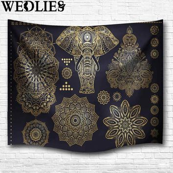 Polyester Indian Mandala Elephant Tapestry Wall Hanging Throw Blanket Dorm Cover Bedspread Mat Carpet Home Room Decor 153X102cm