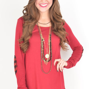 Long Sleeve Red Top with Buffalo Plaid Elbow Patches and Hem