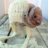 Baby Hat size 0-12 mos, Cream Baby Hat, Flower Hat, Fanciful Fall 2015 Collection, Baby Hat, Newborn Pictures, Photo Prop, Photography Prop