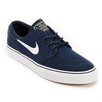 Nike SB Zoom Stefan Janoski Obsidian, White, & Light Brown Canvas Shoe