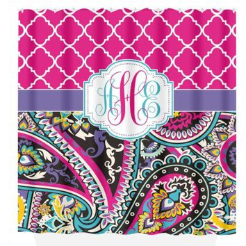 Paisley SHOWER CURTAIN, Trellis Pattern, Custom MONOGRAM Personalized Girl Bathroom Decor Turquoise Purple Hot Pink Bath Towel Bath Mat