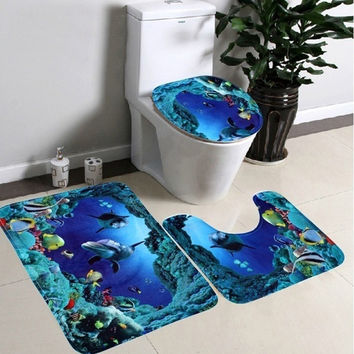 Hot Sale Fashion 3Pcs Set Bathroom Non-Slip Blue Ocean Style Pedestal Rug + Lid Toilet Cover + Bath Mat [NF] FG