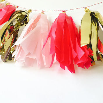 Pink Tassel Bunting, Pink Tassel Garland, Pink and Gold Décor, Tassel Bunting, Tassel Garland, Pink Garland, Pink Tassel,Pink and Gold Party