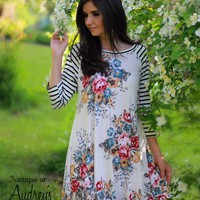 Jodifl Floral Print and Striped Soft Knit A-Line Dress