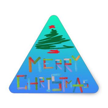 Merry Christmas Triangle Sticker