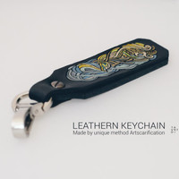 "Leather Keychain ""Firebird"". Hand-Carved technology on the leather (artscarification), with special paints. OOAK Design. Exclusive gift"