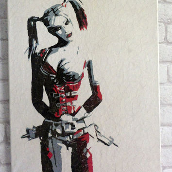 Harley Quinn ORIGINAL Art - Arkham City Batman The Joker
