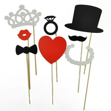 8Pcs Funny DIY Photo Booth Props Mustache Lip Ring Heart Crown Stick Wedding Party (Size: One Size) = 1931876996