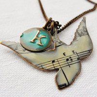 "Song Bird Necklace with Letter ""k"" 12mm Initial Pendant Hand Painted Distressed Alphabet Letter in Pick Your Color"