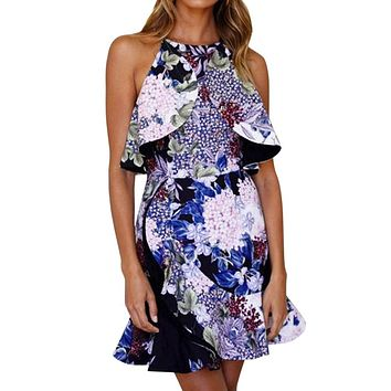 Dress Female Women Ladies Flower Printing Bandage Sling Sleeveless O-Neck Evening Mini Dress Fashion Vestidos Robe