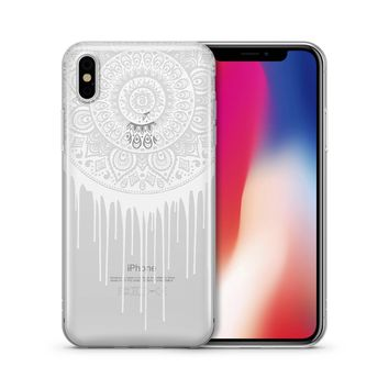 Henna Dripping Mandala Dreamcatcher - Clear TPU Case Cover Phone Case