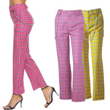 Hot style lady's straight leg with chain versatile checked trousers