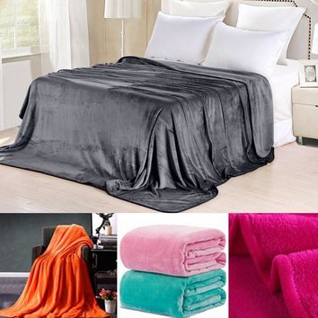 Soft Throw Flannel Blanket Warm Coral Plaid Blankets (15 colors)
