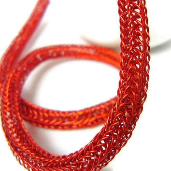 Red necklace Crocheted necklace winter fashion by WatchMeWorld