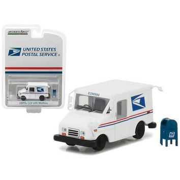 United States Postal Service (USPS) Long Live Postal Mail Delivery Vehicle (LLV) with Mailbox Accessory Hobby Exclusive 1/64 Diecast Model Car by Greenlight