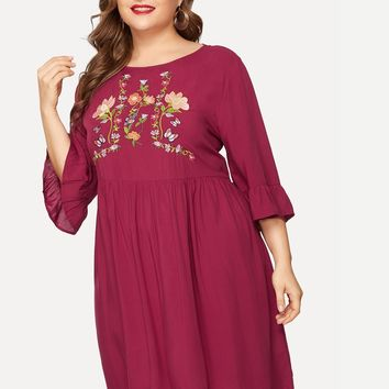Plus Size Burgundy Midi Dress