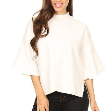 Solid Knit Top with 3/4 Bell Sleeves - Ivory