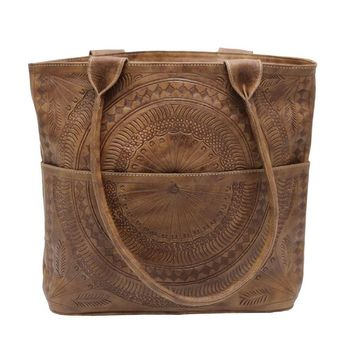 Leaders in Leather Moroccan Tote Bag - Natural