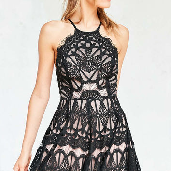 Glamorous Baroque Lace Fit + Flare Mini Dress - Urban Outfitters